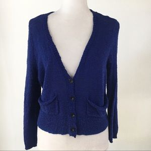 Free People blue v-neck sweater cardigan pockets M